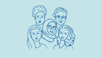 Illustration of the faces of five women on light blue background