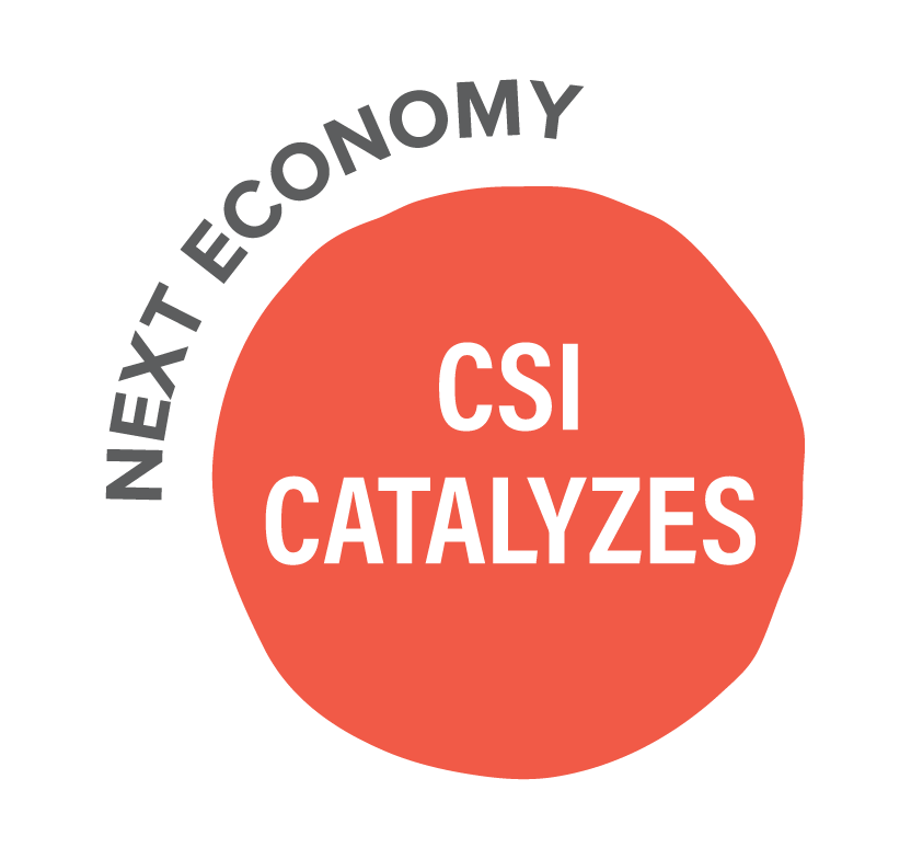 """Pink circle with """"CSI Catalyzes"""" in white font. """"Next Economy"""" curves around the top left of the circle."""